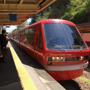 デザインこだわりの「リゾート21 キンメ電車」に乗ろう。普通乗車券で乗車できる。