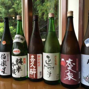 金目鯛料理のお供に。静岡地酒やリピーターの声から選ばれた日本酒をご用意。