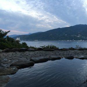 【無料貸し切り露天風呂からの景色】夏の夕暮れに綺麗な景色を撮れました。